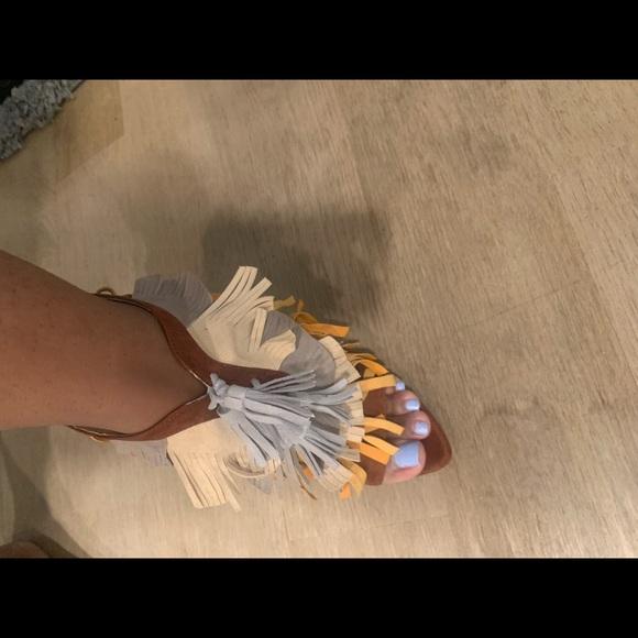 Zara multicolor brown suede heels size 39